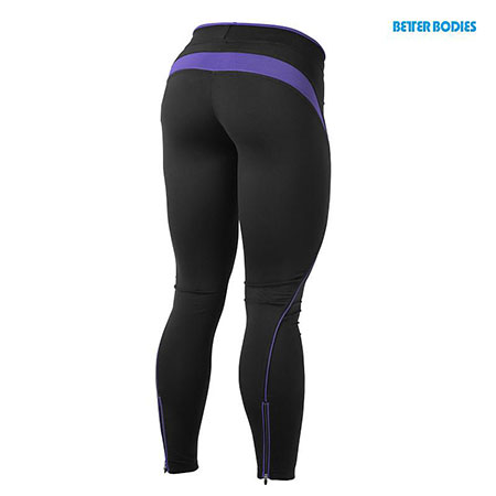 BetterBodies Fitness Long Tights - Black/Purple Detail 2