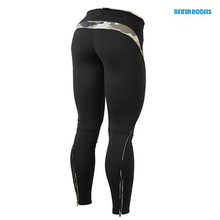 BetterBodies Fitness Long Tights - Black/Camoprint Detail 2