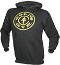 GOLD'S GYM DISTRESSED PLATE HOODIE CHARCOAL