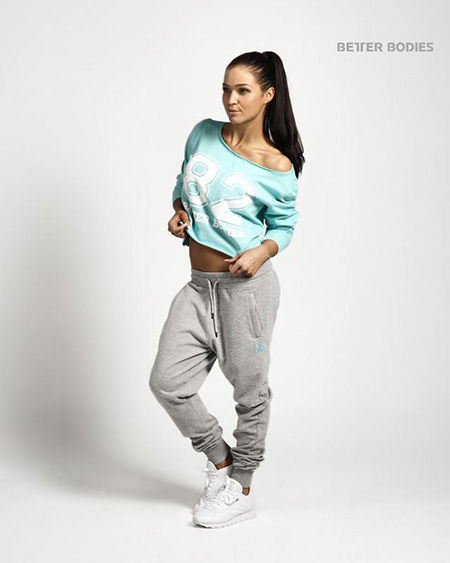 BetterBodies Cropped Sweater - Light Aqua Detail 1