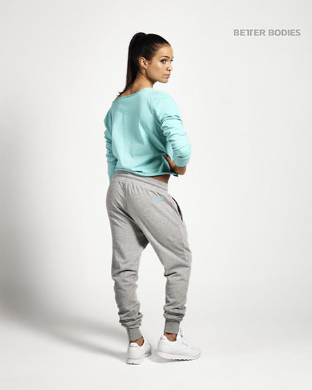 BetterBodies Cropped Sweater - Light Aqua Detail 2