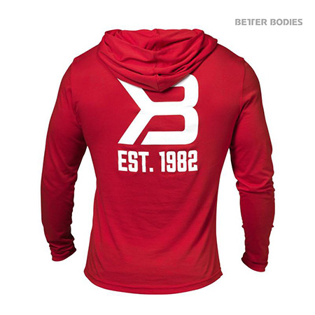 Better Bodies Mens Soft Hoodie - Bright Red Detail 2