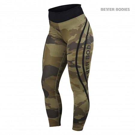 BetterBodies Camo High Tights - Dark Green Camo Detail 1