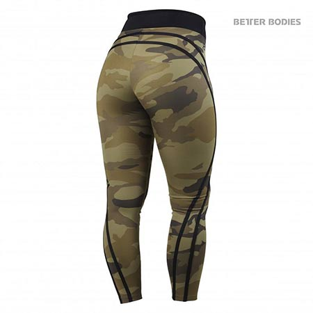 BetterBodies Camo High Tights - Dark Green Camo Detail 2